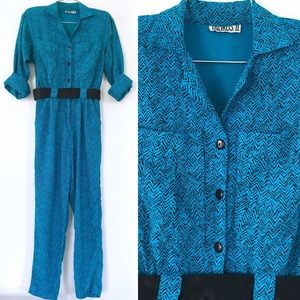 Vintage 1980's teal blue & black belted jumpsuit